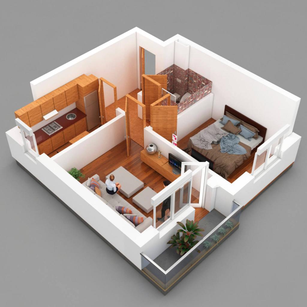 3D architecture floor plan rendering
