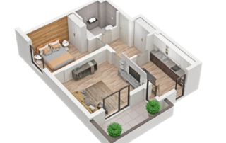apartment 3D rendering Floor Plan