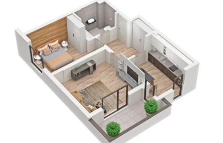 apartment 3D rendering Floor Plan